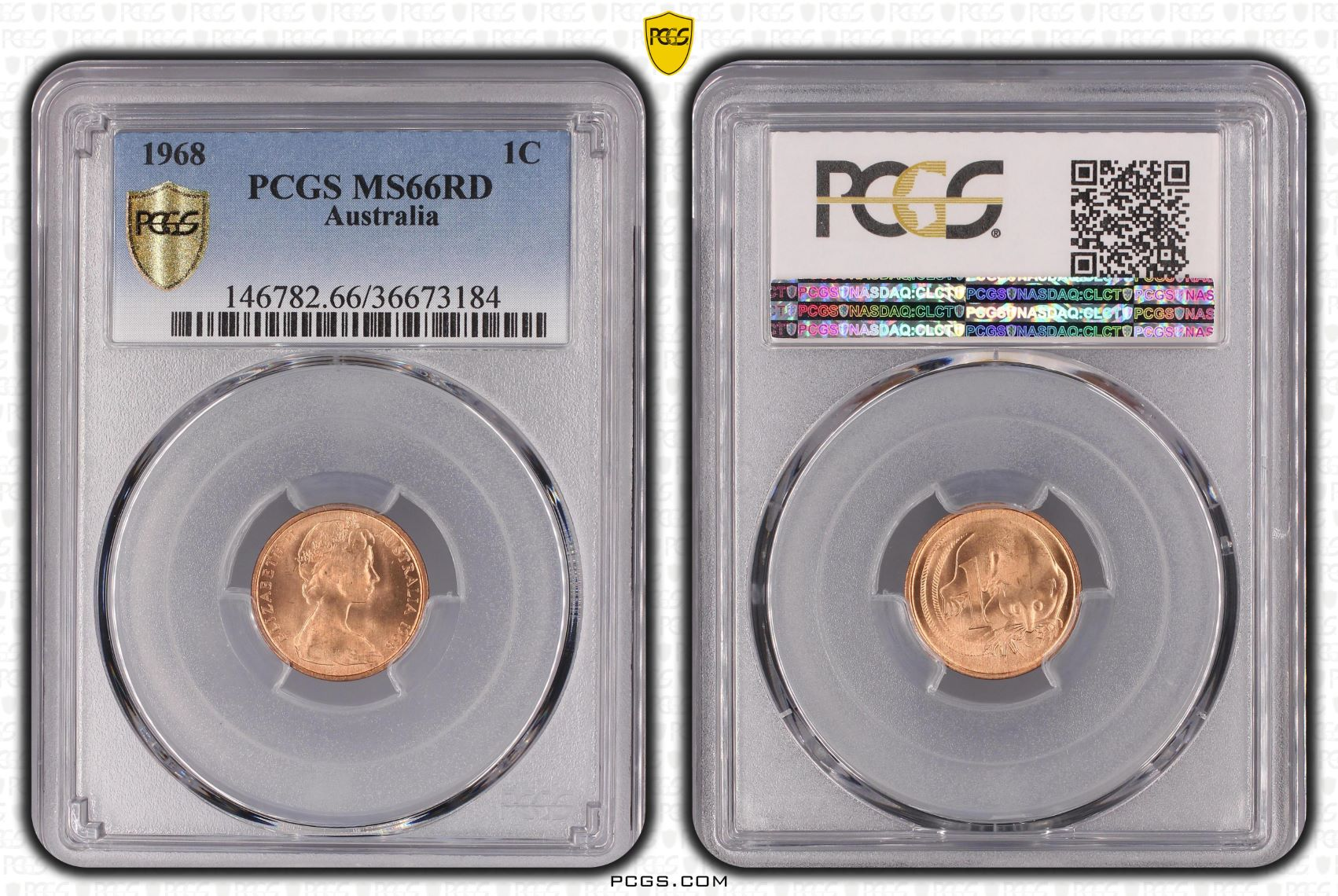 Australia 1968 1C One Cent PCGS MS66RD